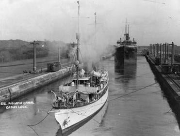 Ships passed through the Panama Canal's Gatun Locks in Jan. 1, 1915. The canal opened in 1914 and was designed for ships much smaller than many of those built today.